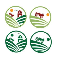 farm with tractor emblems set vector image