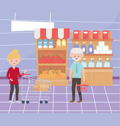 female and male customer in supermarket with vector image