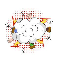 fight in cloud smoke comic fierce battle hands vector image