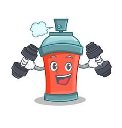 Fitness aerosol spray can character cartoon vector