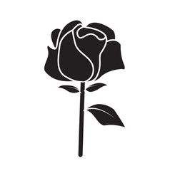 flat black rose icon vector image