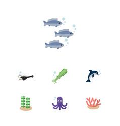 flat icon marine set of algae seaweed fish and vector image vector image