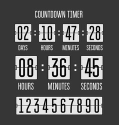 Flip countdown clock counter timer on black vector