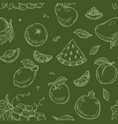 fruits seamless pattern organic vegetarian food vector image