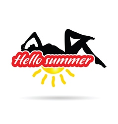Girl beauty with hello summer silhouette vector