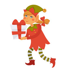 Girl elf carries bix gift box with red bow vector