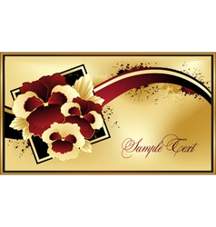 Gold floral card vector