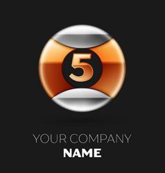 golden number five logo in silver-golden circle vector image