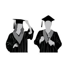Graduates silhouette vector