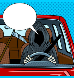 Grim reaper drive car pop art vector