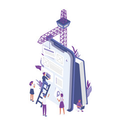 Group of tiny people creating or building mobile vector