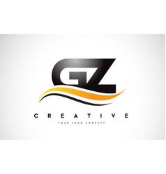 Gz g y swoosh letter logo design with modern vector
