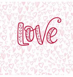 Happy valentine s day hand drawn calligraphy vector
