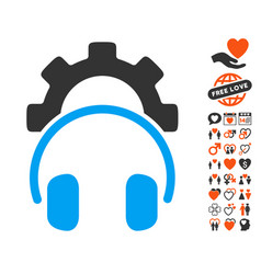 Headphones configuration gear icon with valentine vector