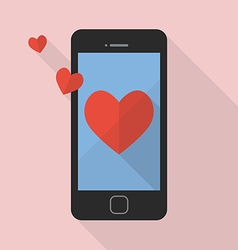 Heart icon on smart phone vector image