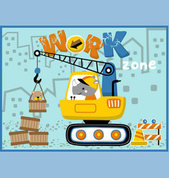 heavy equipment cartoon little animals on work vector image