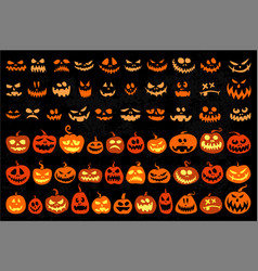 Jack o lantern and evil faces set vector
