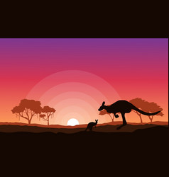 kangaroo silhouette landscape background vector image