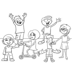 Kids and teens characters coloring book page vector