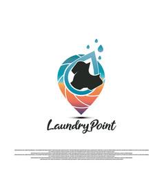 Laundry logo design concept map icon vector