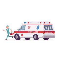 Male nurse at ambulance car vector
