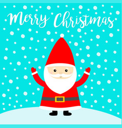 merry christmas santa claus costume red hat vector image