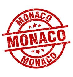 Monaco red round grunge stamp vector