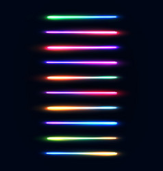 neon light tubes set colorful glowing stripes vector image