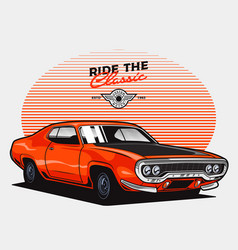 Orange classic muscle car vector