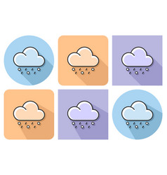outlined icon of rain with hail with parallel and vector image