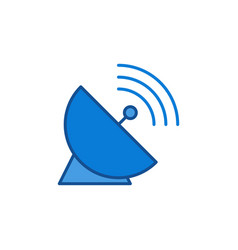 Parabolic antenna dish with signal colored vector