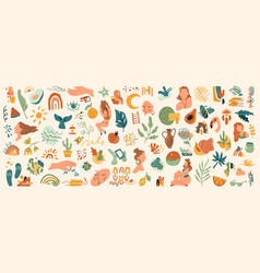 Plants and animals trendy various shapes patterns vector