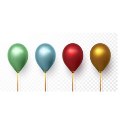 realistic yellow red and blue balloons on vector image