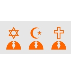 Religious icons as humans head vector image
