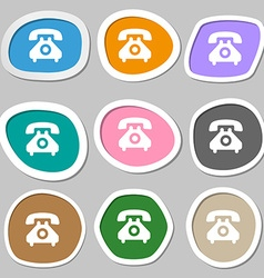 retro telephone handset icon symbols Multicolored vector image