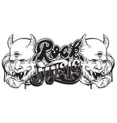 rock music handwritten lettering template for vector image