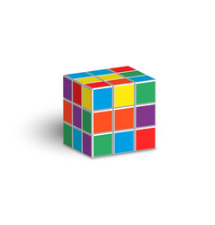 Rubik cube unsolved puzzle 3d isometric shape vector