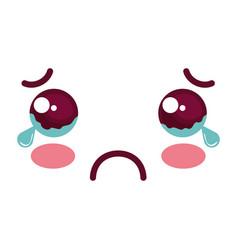Sad face kawaii character icon vector