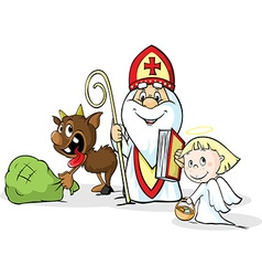 Saint Nicholas devil and angel - isolated o vector