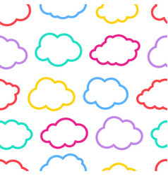 seamless colorful outline cloud pattern vector image