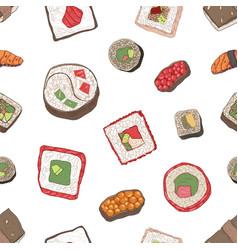 seamless pattern with nigiri and maki sushi vector image