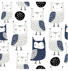 seamless pattern with owls and abstract shapes vector image