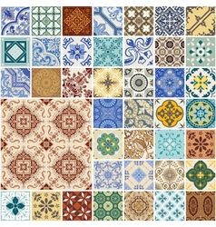 Seamless Patterns Set - Spain and Moroccan Tiles vector