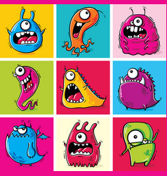 set funny cartoon monsters vector image
