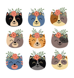 set isolated cute cat faces with flowers vector image