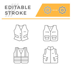 Set line icons vest vector