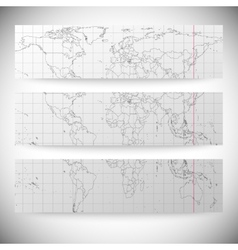 Set of horizontal banners Gray Political World Map vector