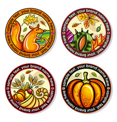 Set of seasonal autumn round drink coasters vector