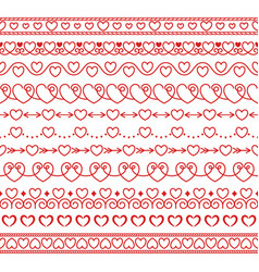 set of simple linear brushes with hearts vector image