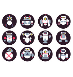 Set of twelve cute flat robots icons vector